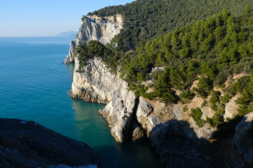 Rocks overlooking the sea on Palmaria Island in Portovenere. Marine panorama near the Cinque Terre. - MyVideoimage.com