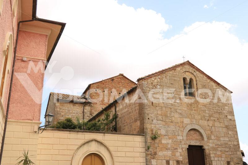 Romanesque church of Magliano in Toscana, Maremma. Stone facade - MyVideoimage.com