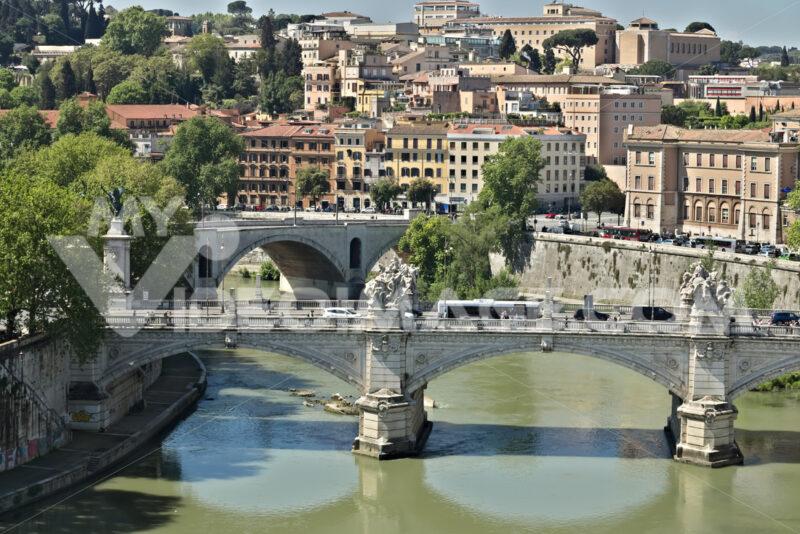 Rome, Italy. 05/02/2019.  Ponte Vittorio Emanuele and the Tiber River. - MyVideoimage.com