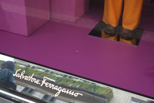 Salvatore Ferragamo Boutique with shop windows on Via Montenapol - MyVideoimage.com