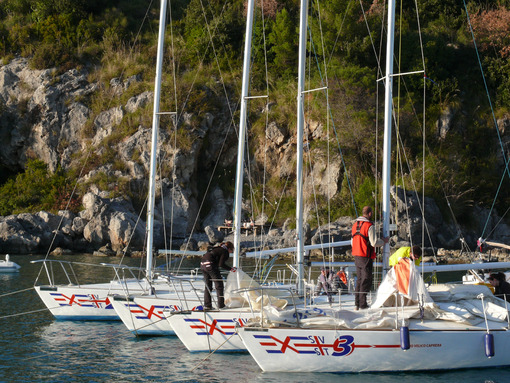 Sea school sailboats anchored in the port of Santa Teresa in La Spezia. - MyVideoimage.com
