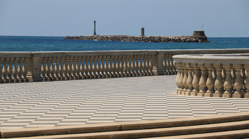 Seafront of Livorno. The  Mascagni terrace is a famous place and meeting place for the citizens of the Tuscan city. - MyVideoimage.com