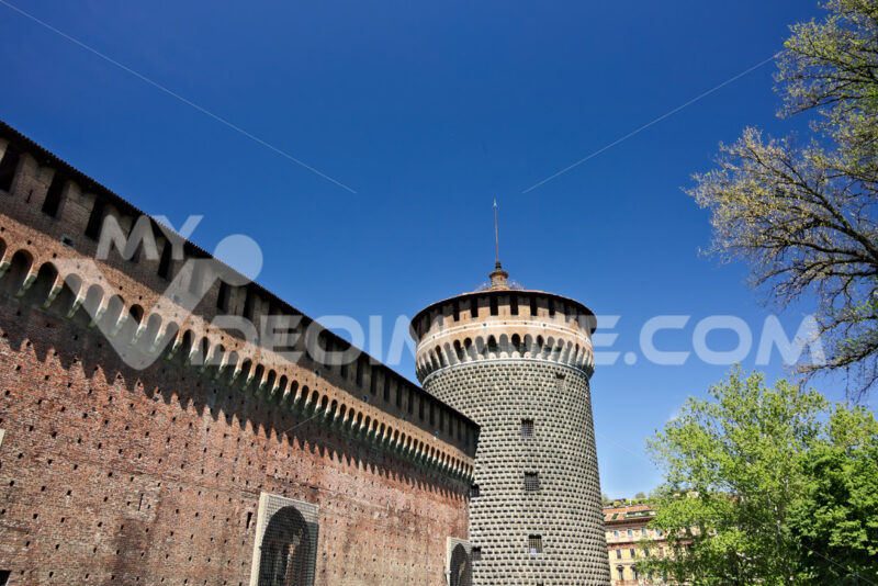 Sforza Castle in Milan. Cylindrical tower and walls. The Castle - MyVideoimage.com
