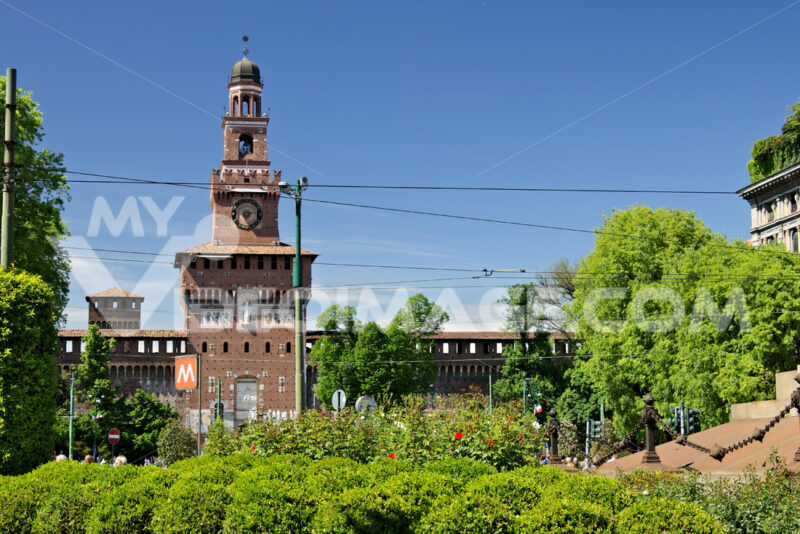 Sforza Castle in Milan. The tower above the main entrance.  In t - MyVideoimage.com