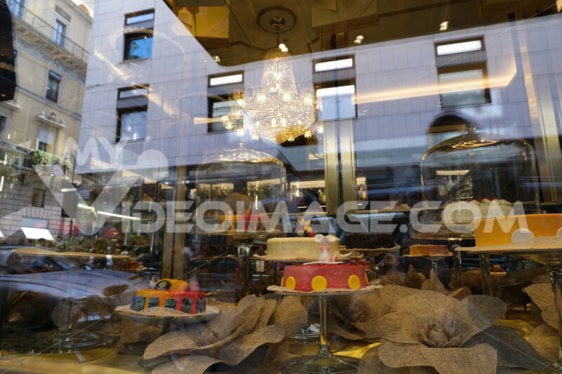 Showcase of a pastry shop in the luxury street of Milan. - MyVideoimage.com