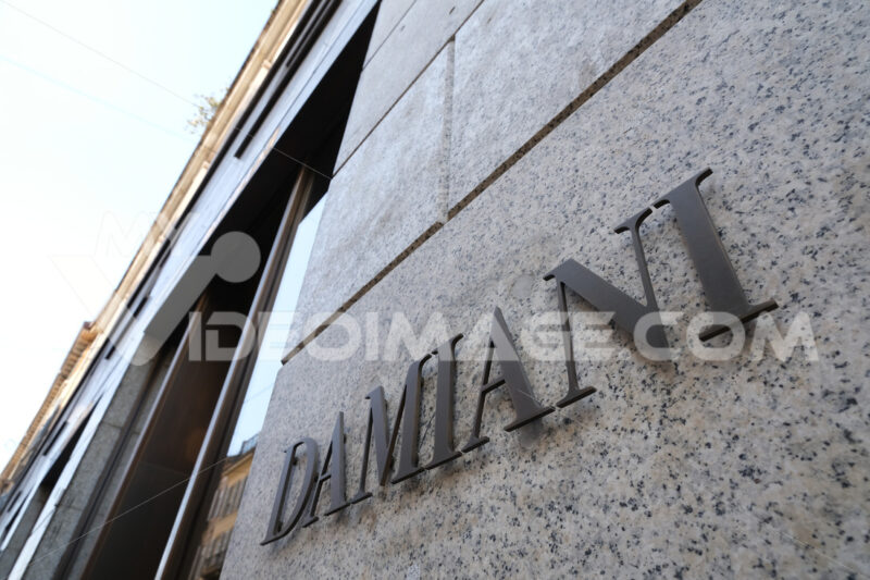 Sign of the Damiani fashion store in Via Montenapoleone in Milan - MyVideoimage.com