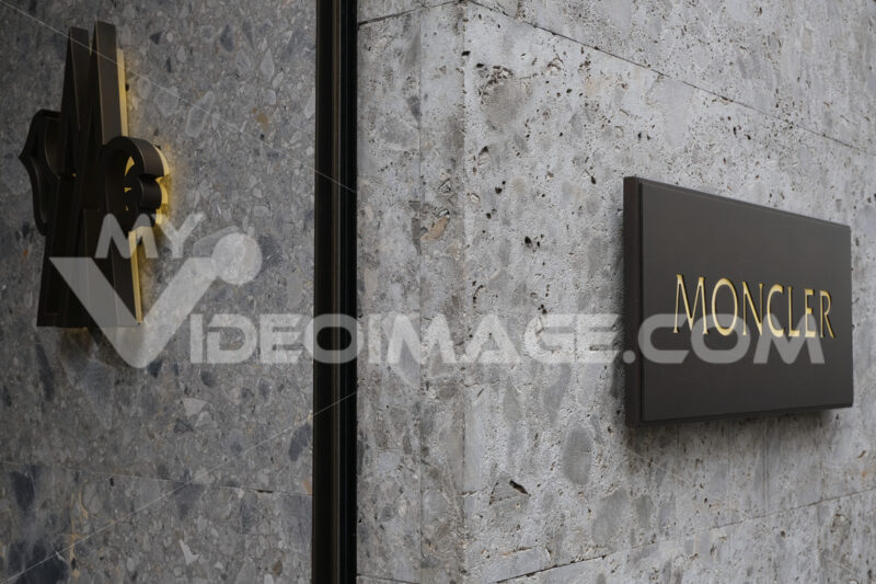 Sign of the Moncler high fashion store in Via Montenapoleone in - MyVideoimage.com