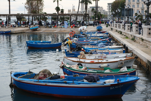 Small fishing boats in the port of Bari. At the market near the port the fishermen sell the fish caught. - MyVideoimage.com