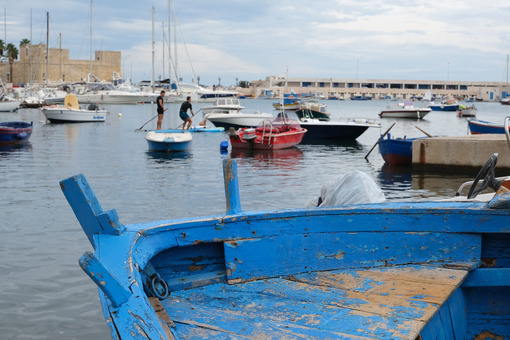 Small fishing boats in the port of Bari.At the market near the port the fishermen sell the fish caught. - MyVideoimage.com