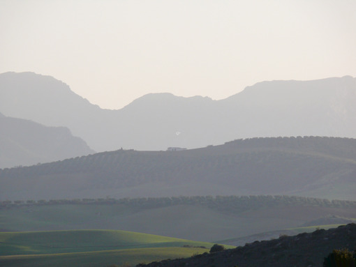Spain panorama. Panorama of mountains and valleys near Ronda, Spain. - MyVideoimage.com | Foto stock & Video footage