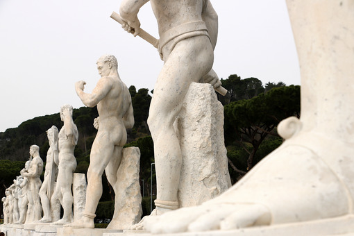 Stadio dei marmi, Rome. Sculptures. Sculptures in white Carrara marble at the Stadio dei Marmi in Rome at the Foro Italico. - MyVideoimage.com