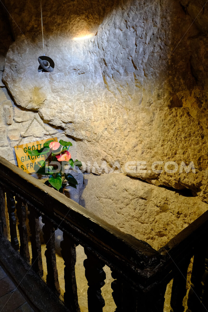 Stone bed where San Francesco di Assisi rested near the hermitage of the Carceri. - MyVideoimage.com