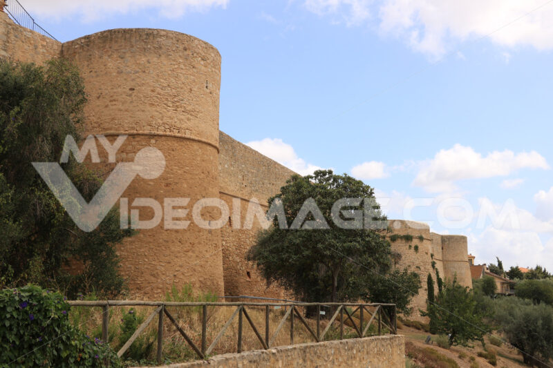 Stone walls of the town of Magliano in Toscana, Maremma. At the - MyVideoimage.com