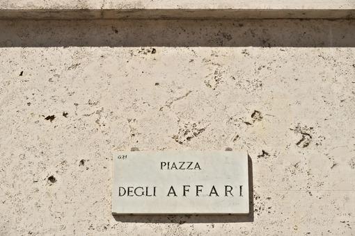 Street sign of Piazza degli Affari in Milan. The Borsa Italiana is based in this square at Palazzo Mezzanotte - MyVideoimage.com
