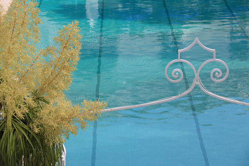 Swimming pool with blue water. Dracaena flower and  wrought iron ornament. - MyVideoimage.com