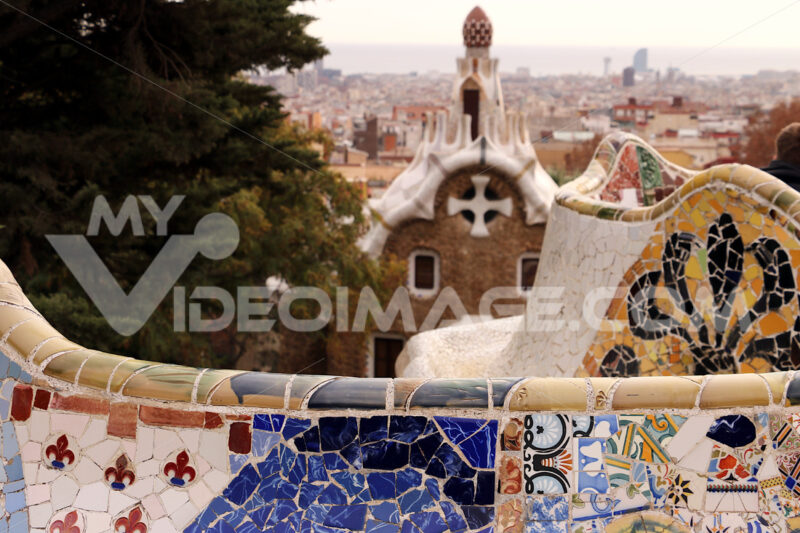 Terrace of the Guell paro designed by Antoni Gaudì. - MyVideoimage.com