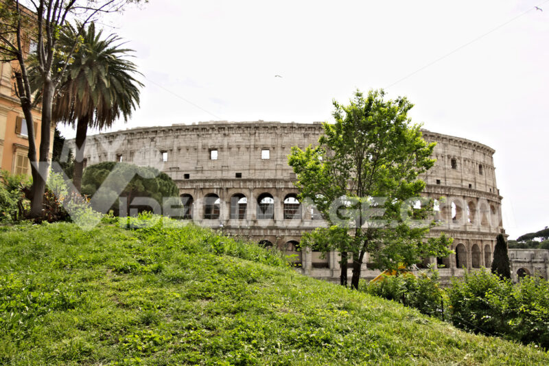 The colosseum with a green lawn on the hill of Colle Oppio. - MyVideoimage.com