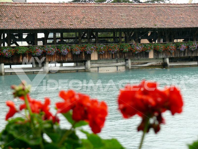 Thun, Switzerland.  08/03/2009. Portico on the river - MyVideoimage.com