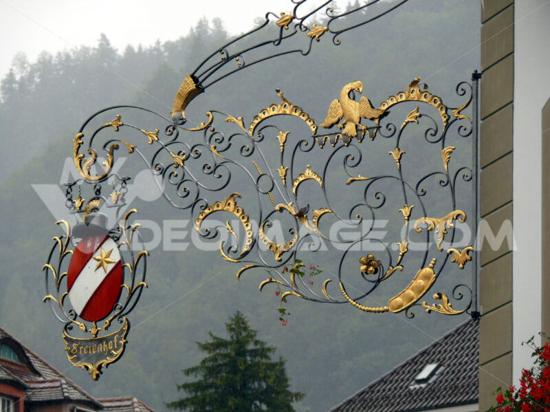 Thun, Switzerland. 08/03/2009. Sign in wrought iron. - MyVideoimage.com
