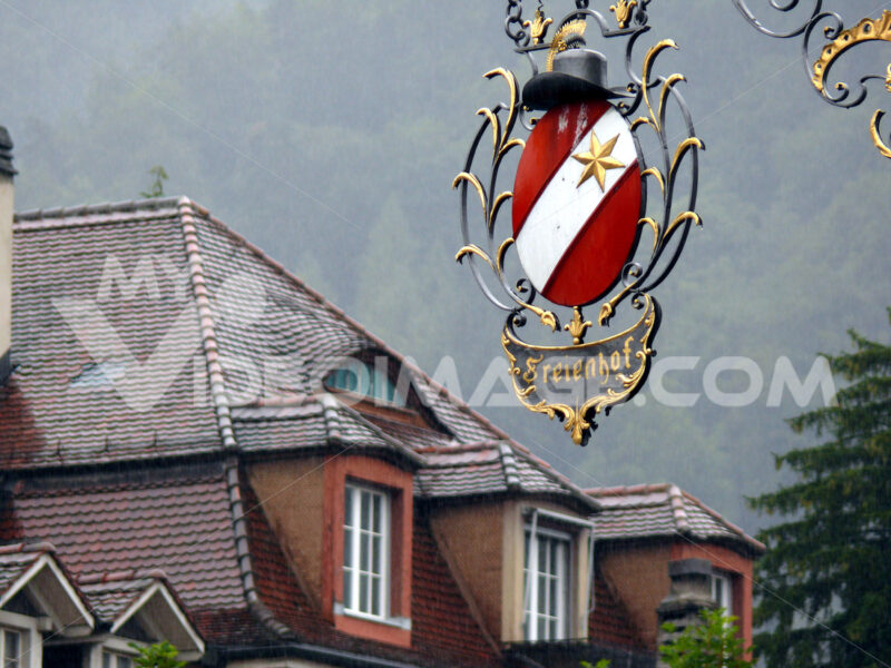 Thun, Switzerland. 08/03/2009. Sign in wrought iron. - MyVideoimage.com