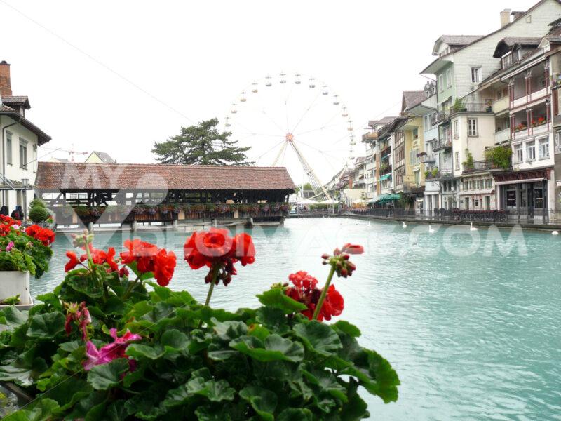 Thun, Switzerland. Portico on the river - MyVideoimage.com