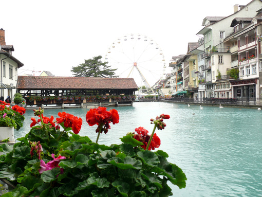 Thun, Switzerland. Portico on the river - MyVideoimage.com
