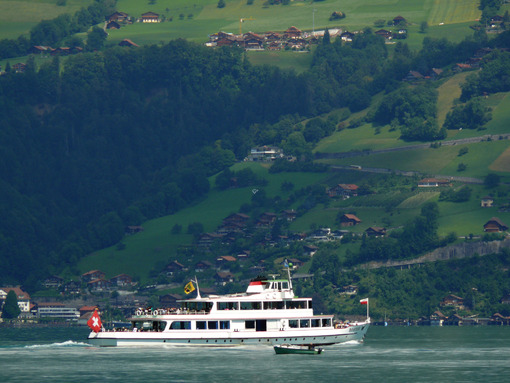 Thunersee, Switzerland. 08/03/2009. Boat on the lake - MyVideoimage.com