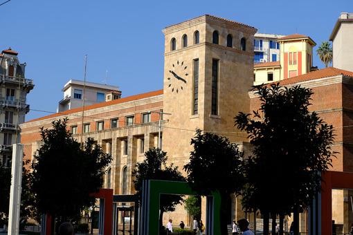 Torre con orologio a La Spezia. Tower with post office clock. Stock photos. - MyVideoimage.com | Foto stock & Video footage