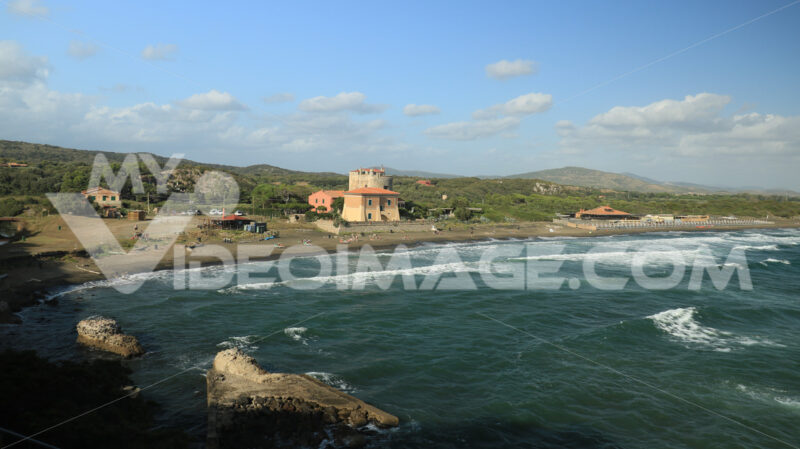 Torre della Tagliata or Puccini Tower, on the beach of Ansedonia - MyVideoimage.com