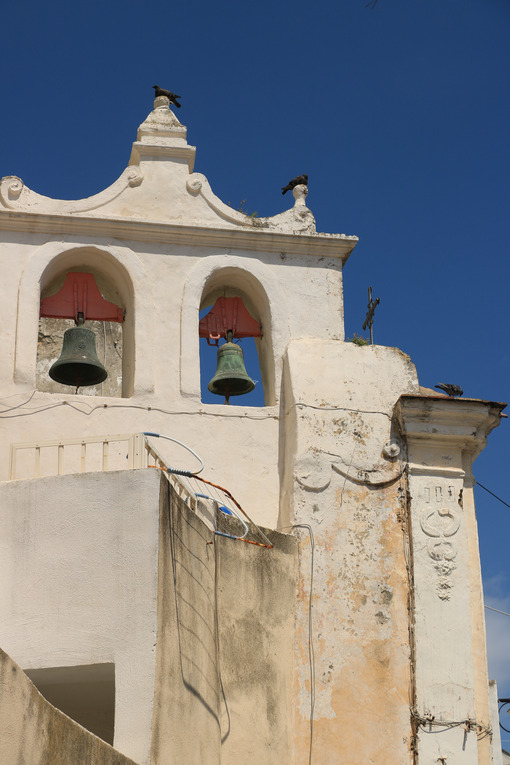 Tower bell. Procida photos. Bell tower with bells in a Mediterranean church on the island of - MyVideoimage.com | Foto stock & Video footage