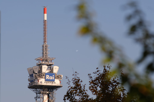 Tower with antennas and TV radio repeaters of the RAI of Milan. - MyVideoimage.com