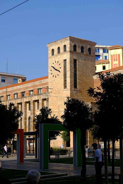 Tower with clock in La Spezia. Tower with post office clock. Stock photos. - MyVideoimage.com | Foto stock & Video footage