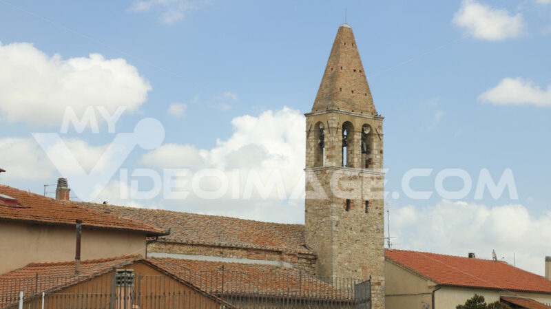 Town of Magliano in Tuscany. Maremma. View of the roofs and bell - MyVideoimage.com