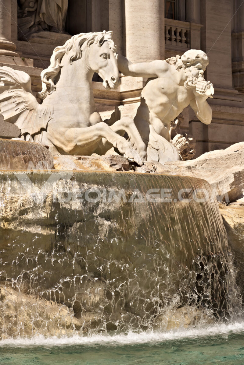 Trevi Fountain in Rome with the sculpture of Neptune. - MyVideoimage.com