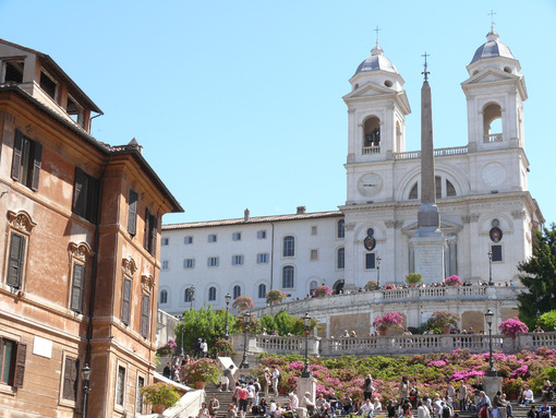 Trinità dei Monti with staircase and gardens with flowers in spring. - MyVideoimage.com
