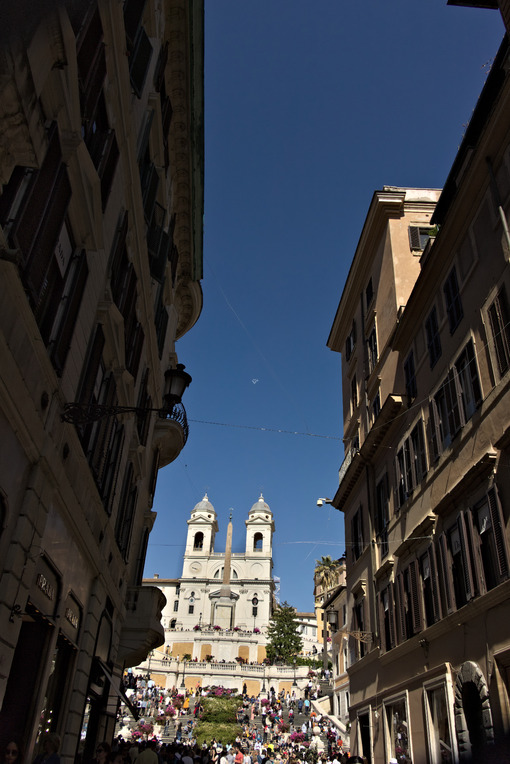 Trinità dei monti church and staircase in Rome. - MyVideoimage.com