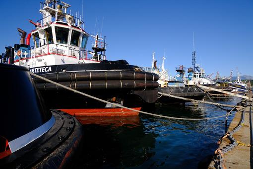 Tugboat anchored at the port of La Spezia. - MyVideoimage.com
