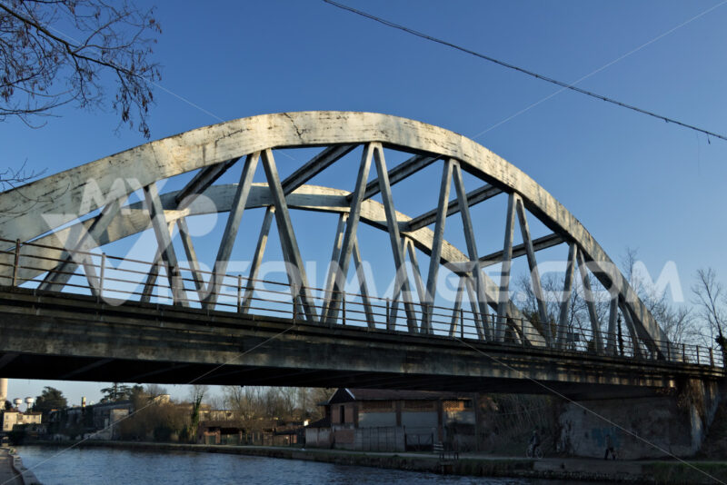 Turbigo. Milan. Lombardy. Italy. Reinforced concrete bridge. - MyVideoimage.com | Foto stock & Video footage