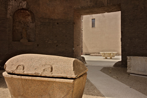 Two sarcophaguses and a tub in white marble at the Baths of Dioc - MyVideoimage.com
