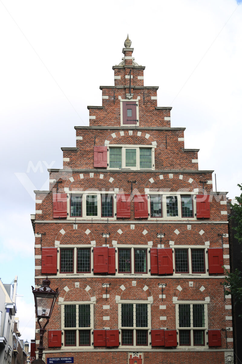 Typical Dutch houses seen from the canals of Amsterdam. Bricks f - MyVideoimage.com