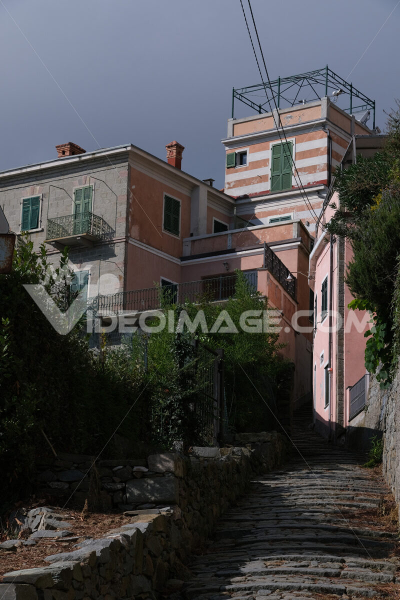 Typical Ligurian architecture houses in the town of Campiglia, near the Cinque Terre, La Spezia. - MyVideoimage.com