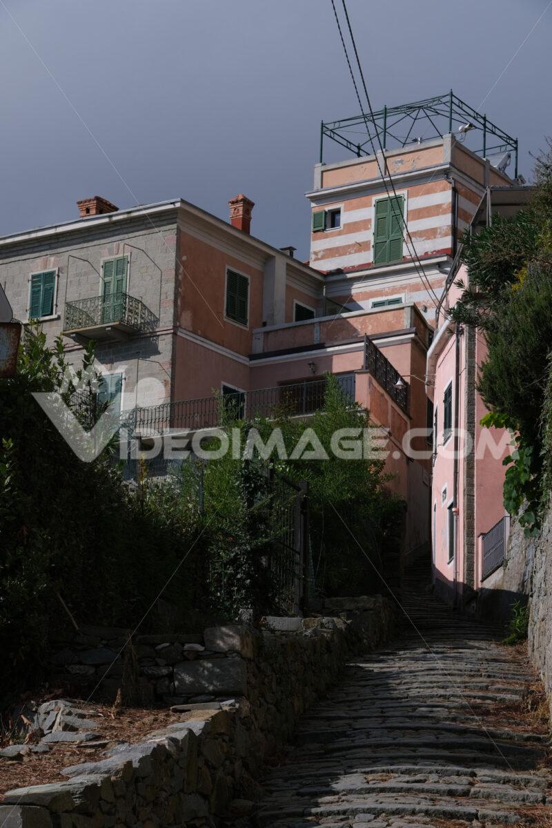 Typical Ligurian architecture houses in the town of Campiglia, near the Cinque Terre, La Spezia. - MyVideoimage.com