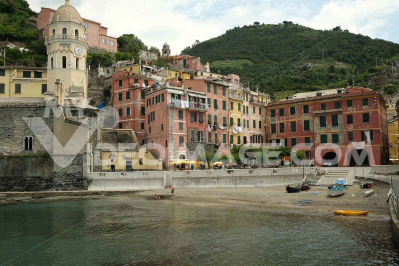 Vernazza, Cinque Terre, Liguria. Seaside village with colorful houses. Social distancing in the Coridavirus Covid-19 period. - MyVideimage.com