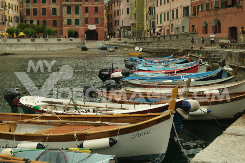 Vernazza, Cinque Terre, Liguria. Seaside village with colorful houses. Social distancing in the Coridavirus Covid-19 period. - MyVideimage.com