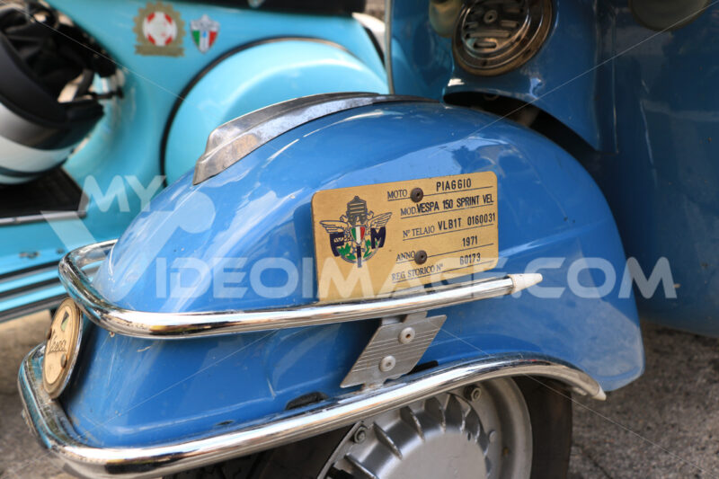 Vespa Piaggio historic motorcycle registration plate. Vespa club - MyVideoimage.com