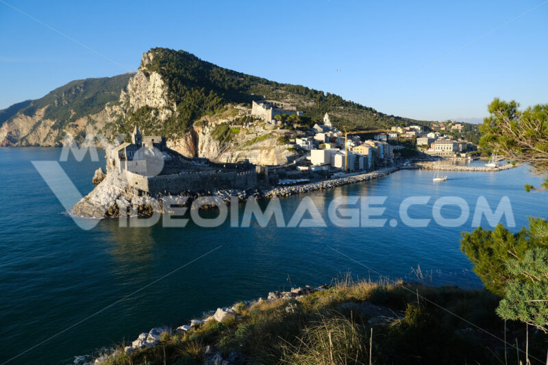 Village of Portovenere in Liguria near the Cinque Terre. The church of San Pietro overlooking the sea. Foto mare - LEphotoart.com