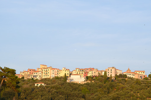 Village of Pugliola, located on the Lerici hill in Liguria with typical houses. - MyVideoimage.com