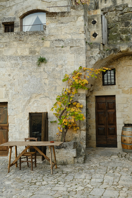Vine plant grown in a stone planter in the Sassi of Matera. Courtyard of a house with a wooden table and a wine barrel. - LEphotoart.com
