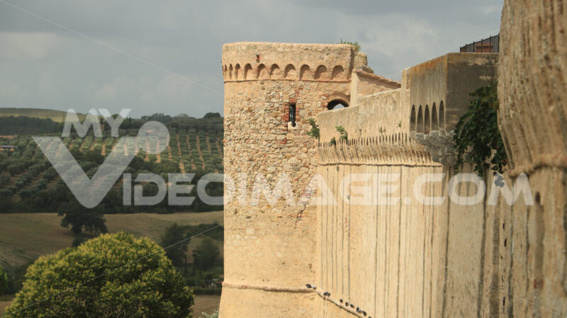 Walls of the town of Magliano in Tuscany. Maremma. Landscape wit - MyVideoimage.com
