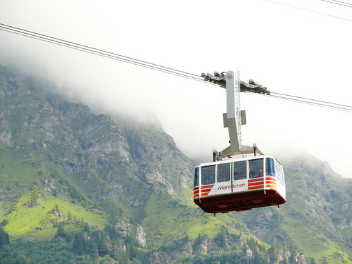 Wengen, Switzerland. 08/04/2009. Cable car that goes up to the mountain. Foto Svizzera. Switzerland photo